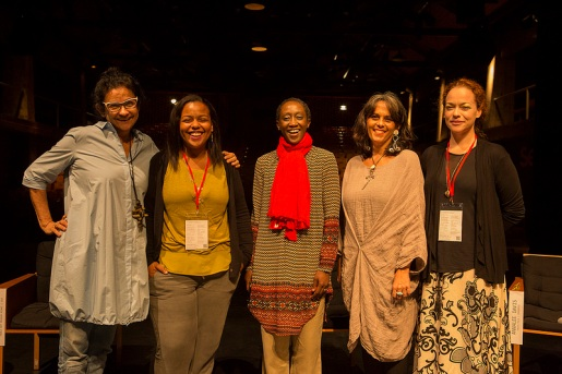 L-R: Solange Farkas (Director of Videobrasil), Maria Elena Ortiz (Assistant Curator at PAMM), N'Gone Fall (Founding member of GawLab), Annalee Davis (Founding Director of Fresh Milk) and Holly Bynoe (Director and Editor-in-Chief of ARC Magazine). All images courtesy of Videobrasil