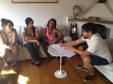 Katherine and Shanika at Casa Tomada with Paulo Miyada. Image courtesy of Casa Tomada.
