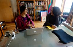 Katherine Kennedy speaking with Mirtes Oliveira. Image courtesy of Casa Tomada.