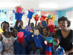 Cherise Ward's puppet making workshop at Workmans Primary School