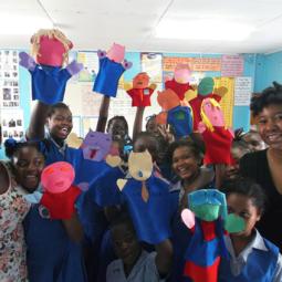 Cherise Ward's puppet making workshop at Workmans Primary School