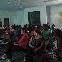 damali abrams speaking to the BCC BFA students