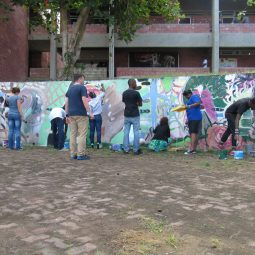 IBB co-founder David Bade leading a mural workshop with BCC students.