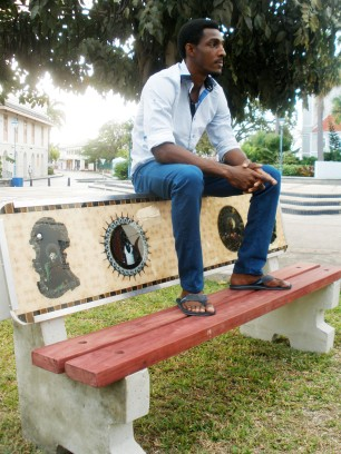 Ronald Williams with his bench titled 'Alpha'