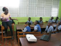 Versia Harris conducting an animation workshop with Workmans Primary School