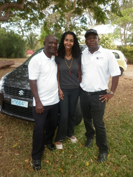 Saada Branker and Edwin and Angus of Top Car Rentals.