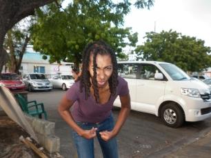 Writer Saada Branker flexing in Oistins