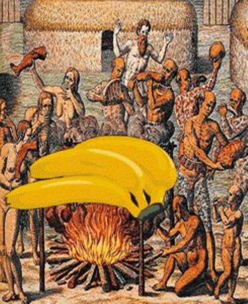 Leandro Cardoso Nerefuh, Churrasco Tupinambá, 16th Century (Variable dimensions). Part of the Arquivo Banana [Banana Archive].