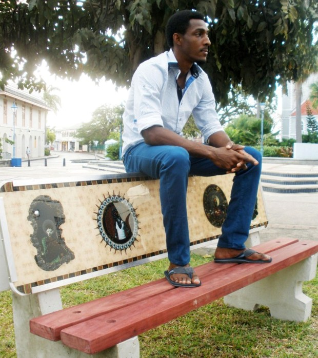 Ronald Williams with his bench entitled 'Alpha'