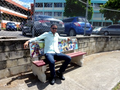 Matthew Clarke with his bench 'Hardears Universe'