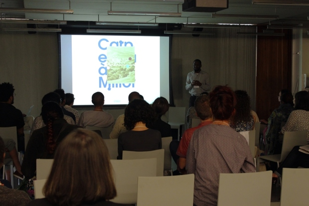 Adler Guerrier presenting about his art practice at Tilting Axis 2