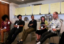 Deborah Anzinger, Jason Fitzroy Jeffers, Tumelo Mosaka, Deb Dormody and Blue Curry in a group discussion at Tilting Axis 2