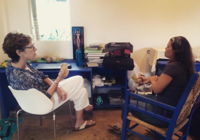 Dr. Allison Thompson having a studio visit with Raquel Marshall