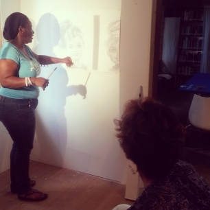 Leann Edghill having a studio visit with Allison Thompson