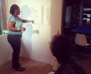 Leann Edghill having a studio visit with Allison Thompson