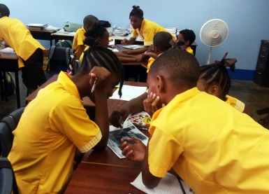 Dorothea Smartt leading a workshop with class 4 students at St. George Primary School