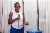 drea brown during her poetry reading at FRESH MILK XX. Photo by Dondré Trotman (http://dondretrotman.com)