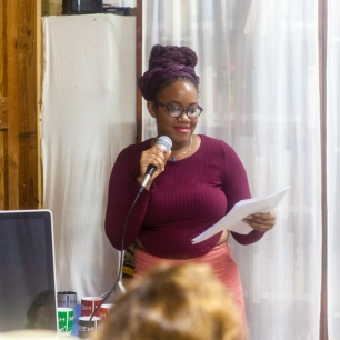 Letitia Pratt reading her poetry at FRESH MILK XXI. Photo by Dondré Trotman (http://dondretrotman.com)