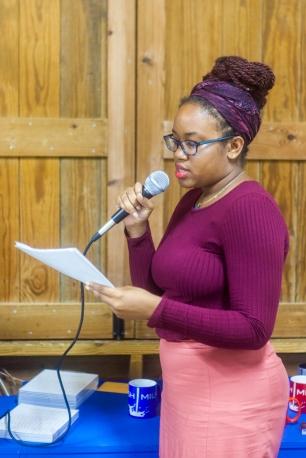 Letitia Pratt reading her poetry at FRESH MILK XXI. Photo by Dondré Trotman (http://dondretrotman.com)