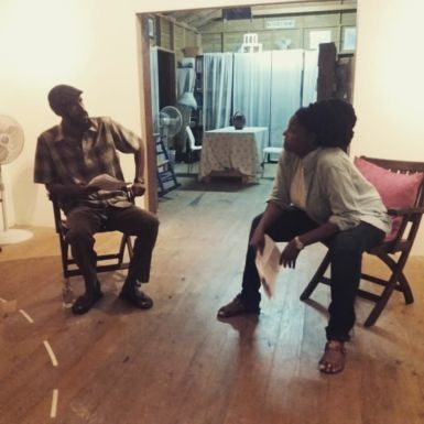 Dy Browne and Kim Weekes in a reading of 'Pretty Daughta' by Matthew Kupakwashe Murrell, Directed by Levi King.