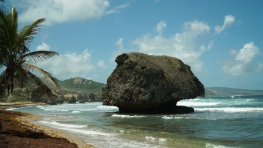 The dramatic coastline of Bathsheba along the rugged East Coast of Barbados with striking rock formations, broken away from an ancient coral reef and positioned against the wild Atlantic Ocean.