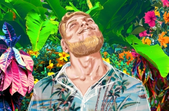The Tourist, Digital Collage (in progress), Part of 'A Paradise Escape?'
