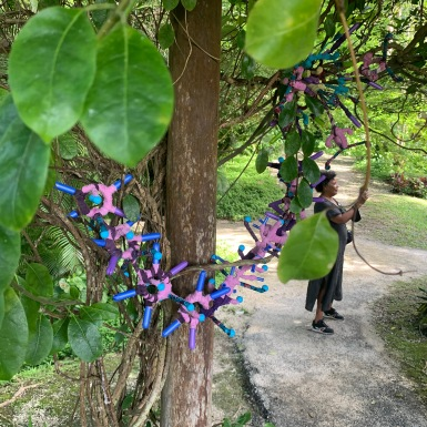 Work by Katherine Kennedy installed at Flower Forest Barbados
