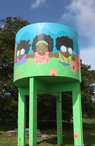 Mural on the water tower at St. George Primary School by Evan Avery